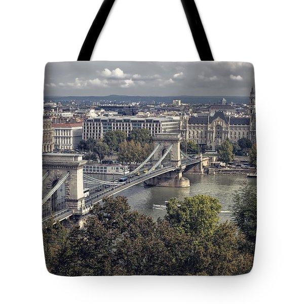 Chain Bridge Gresham Palace And Basilica Tote Bag