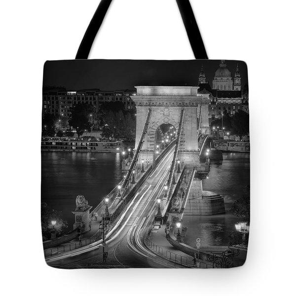 Chain Bridge Night Traffic Bw Tote Bag