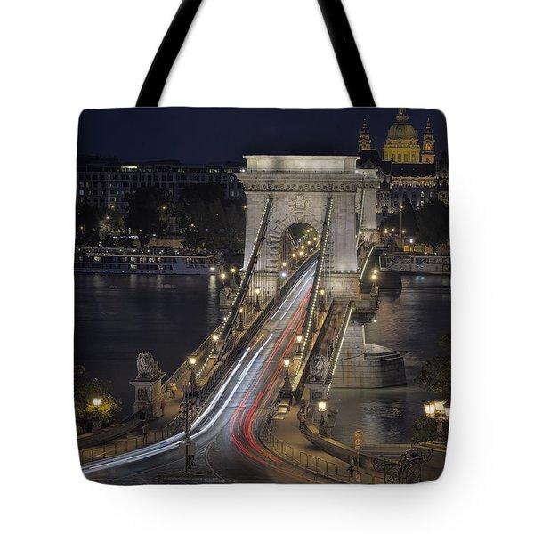 Chain Bridge Night Traffic Tote Bag