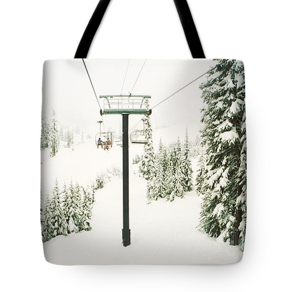 Chair Lift And Snowy Evergreen Trees Tote Bag