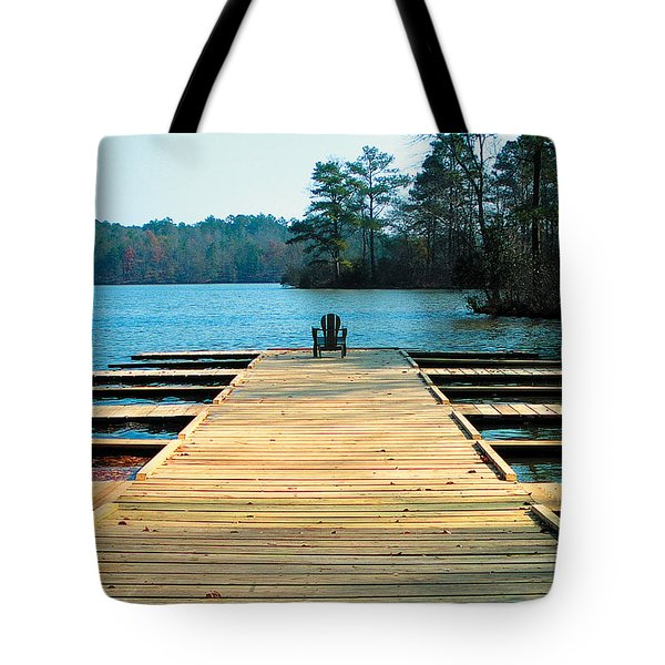 Chair On Dock By Jan Marvin Tote Bag