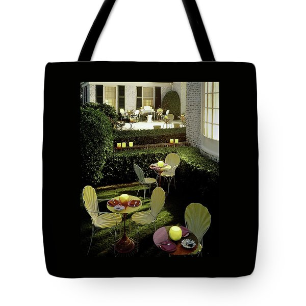 Chairs And Tables In A Garden Tote Bag