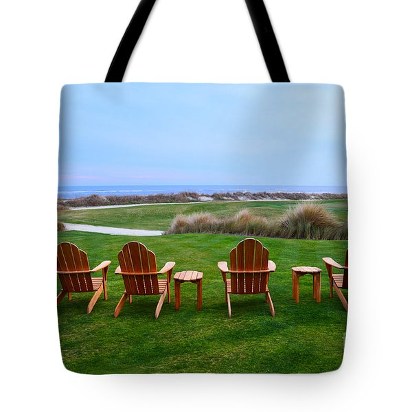Chairs At The Eighteenth Hole Tote Bag by Catherine Sherman