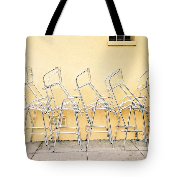 Chairs Stacked Tote Bag
