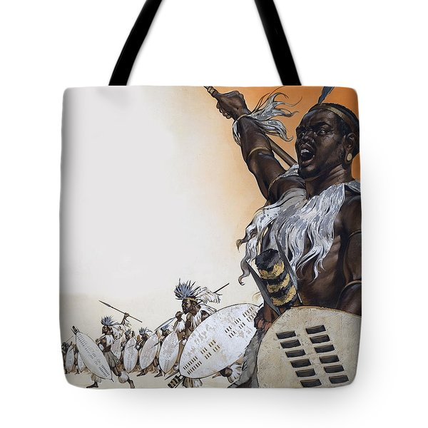Chaka In Battle At The Head Tote Bag by Angus McBride