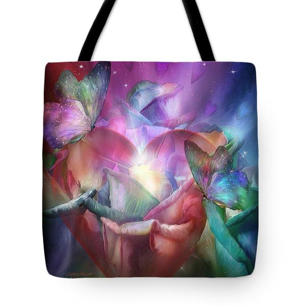 Chakra Heart Tote Bag by Carol Cavalaris
