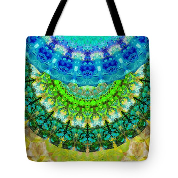 Chakra Mandala Healing Art By Sharon Cummings Tote Bag by Sharon Cummings