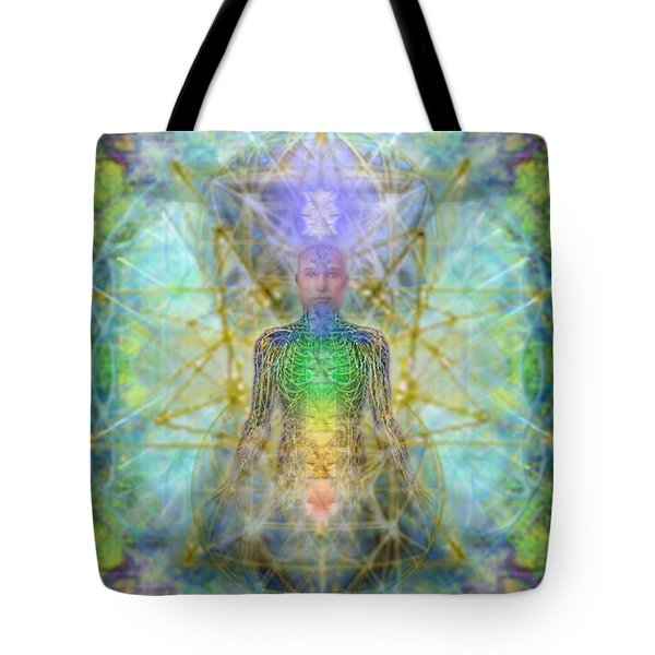 Chakra Tree Anatomy With Mercaba In Chalice Garden Tote Bag
