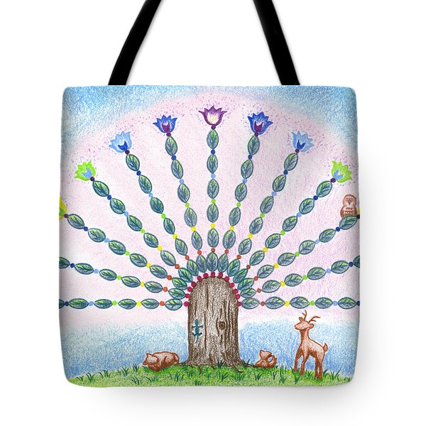 Tote Bag featuring the drawing Chakra Tree by Keiko Katsuta