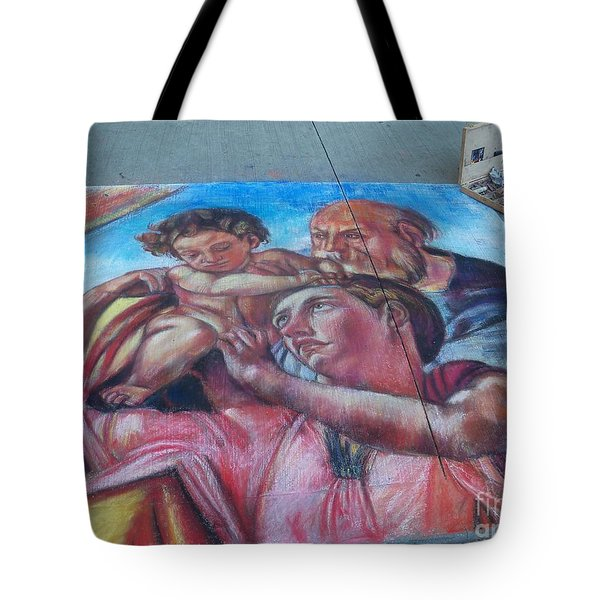 Chalk Painting By Street Artist Tote Bag by Lingfai Leung