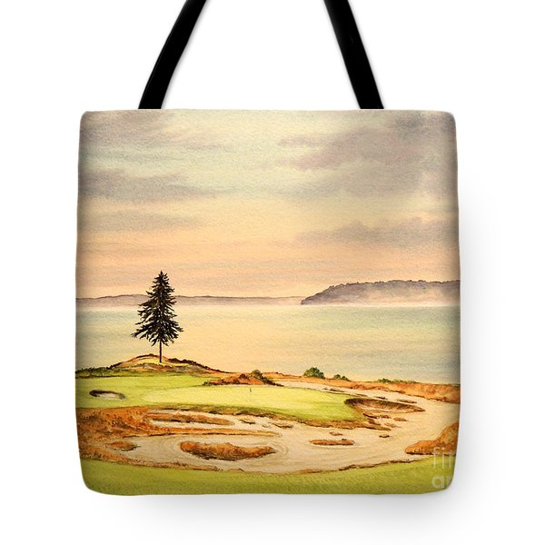 Tote Bag featuring the painting Chambers Bay Golf Course Hole 15 by Bill Holkham