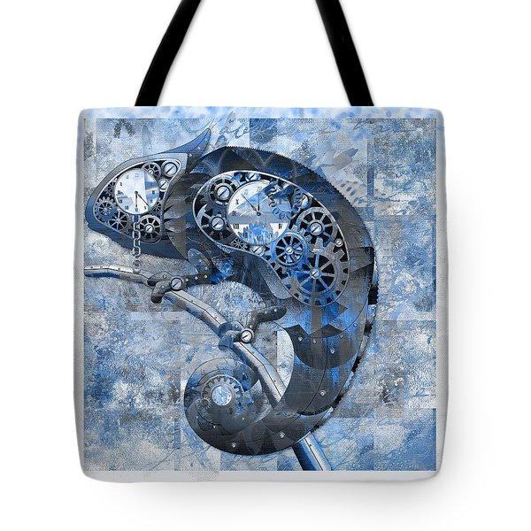 Chameleon - Blue 01b02 Tote Bag by Variance Collections