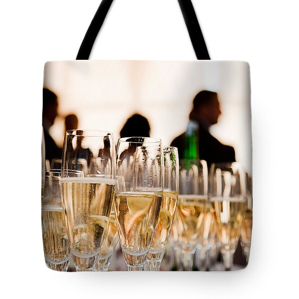 Champagne Glasses At The Party Tote Bag by Michal Bednarek
