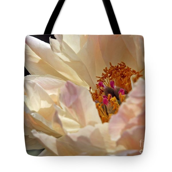 Champagne Peony Tote Bag by Lilliana Mendez