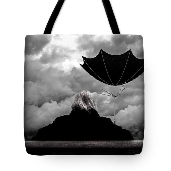 Chance Of Rain   Broken Umbrella Tote Bag by Bob Orsillo