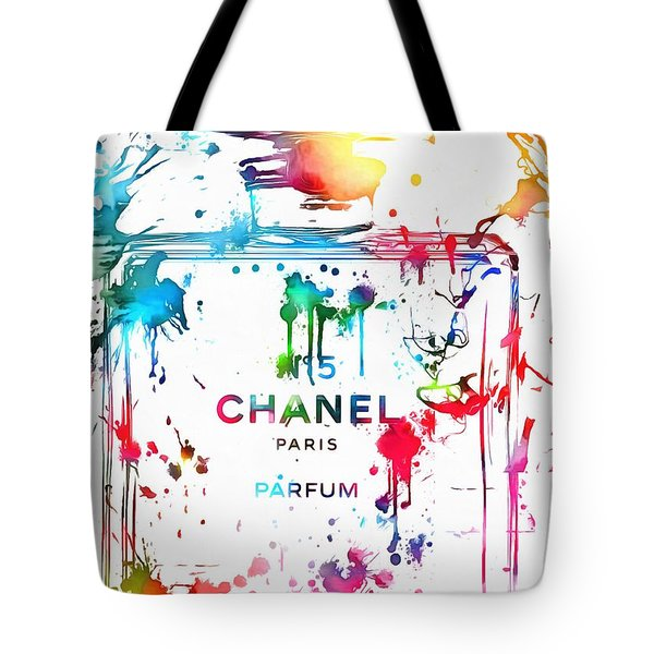 Chanel Number Five Paint Splatter Tote Bag