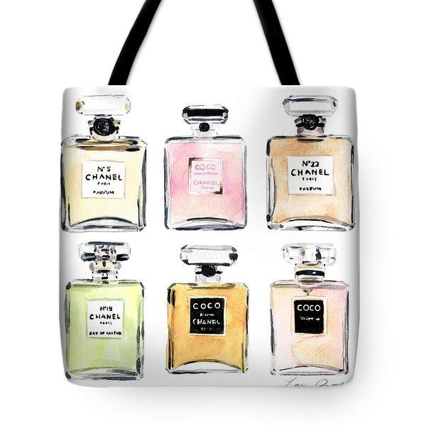 Chanel Perfumes Tote Bag by Laura Row Studio