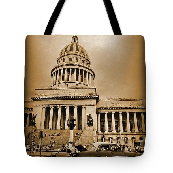 Changing A Tire In Front Of The Capitol Building In Havana Tote Bag by John Malone