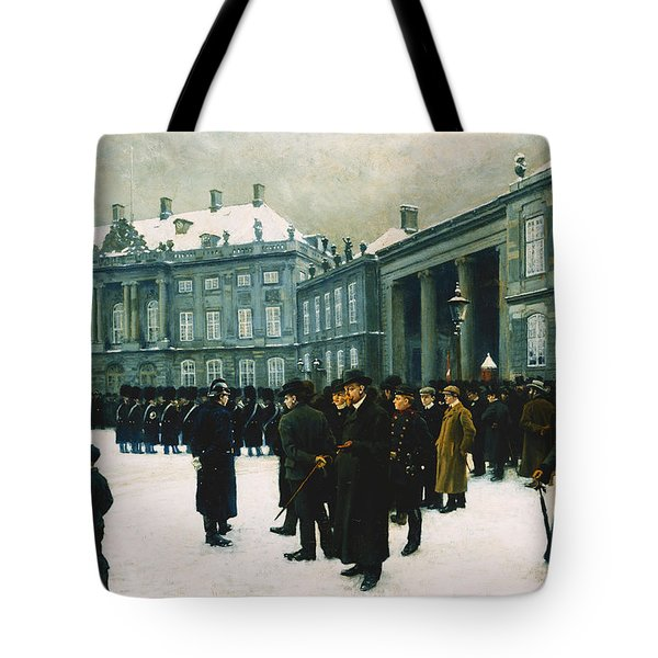 Changing Of The Guard At Amalienborg Palace Tote Bag by Paul Fischer