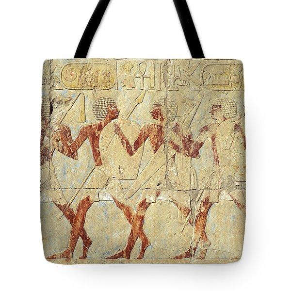 Chapel Of Hathor Hatshepsut Nubian Procession Soldiers - Digital Image -fine Art Print-ancient Egypt Tote Bag