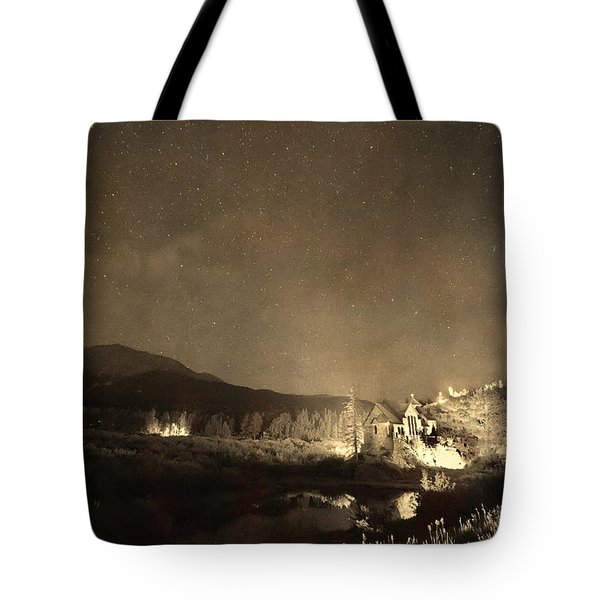 Chapel On The Rock Stary Night Portrait Monotone Tote Bag by James BO  Insogna