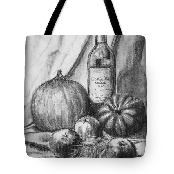 Tote Bag featuring the drawing Charcoal Still Life Harvest by Dee Dee  Whittle