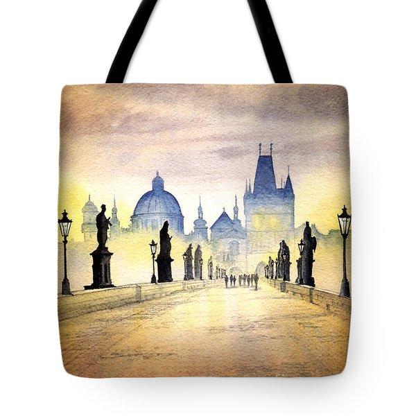 Charles Bridge Prague Tote Bag by Bill Holkham