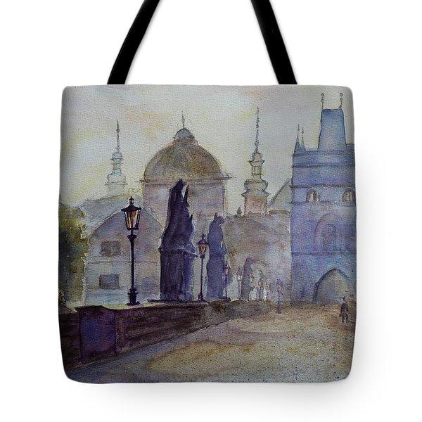 Charles Bridge Prague Tote Bag by Xueling Zou