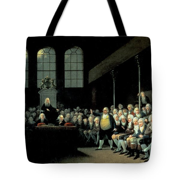 Charles James Fox 1749-1806 Addressing The House Of Commons During The Pitt Ministry Oil On Canvas Tote Bag