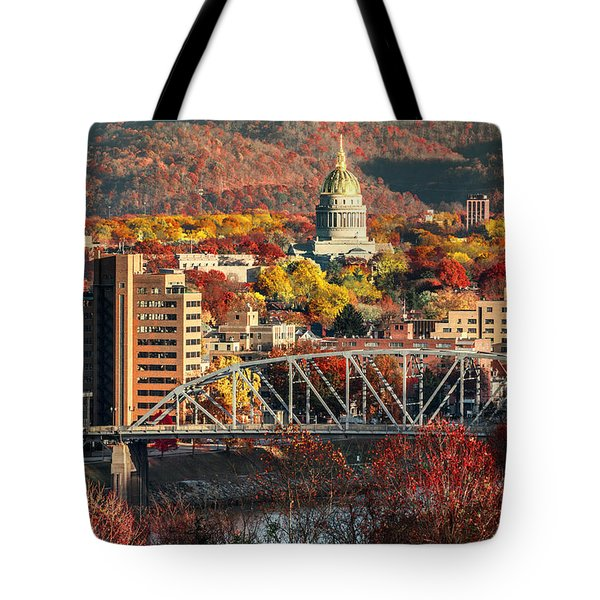Charleston And Wv Capitol Tote Bag