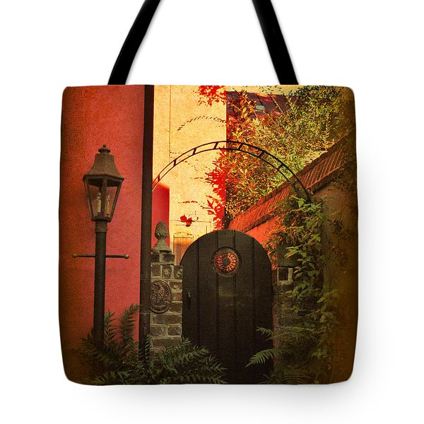 Tote Bag featuring the photograph Charleston Garden Entrance by Kathy Baccari