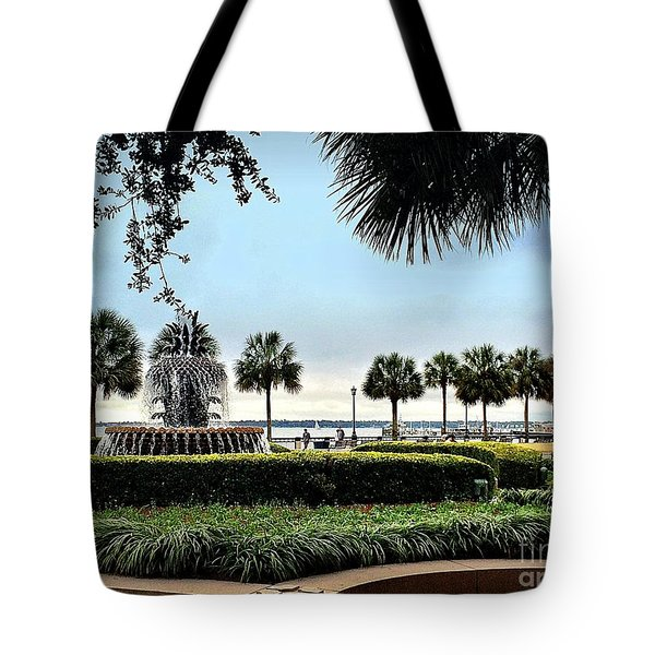 Tote Bag featuring the photograph Charleston Pineapple Fountain by Shelia Kempf