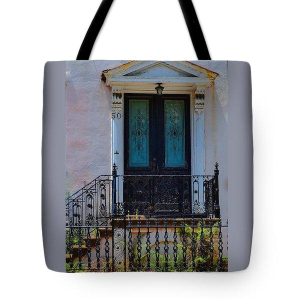 Charleston Wood Door Etched Glass Tote Bag