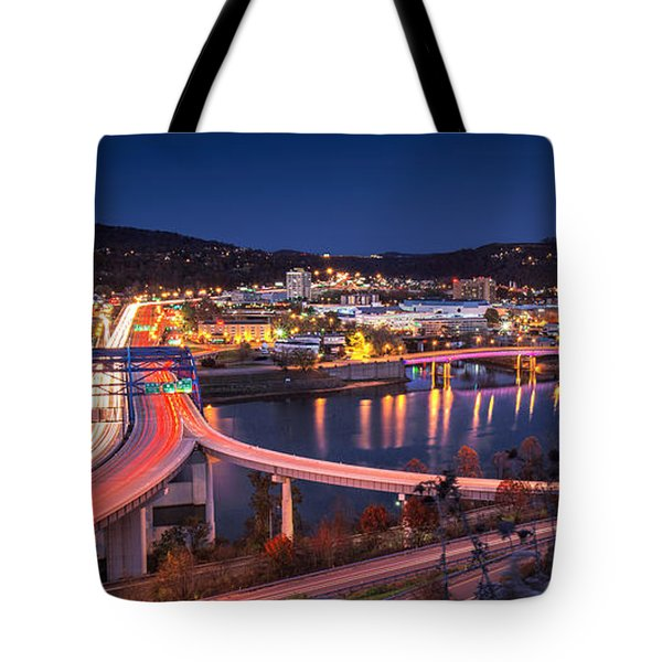 Charleston Wv At Night Tote Bag