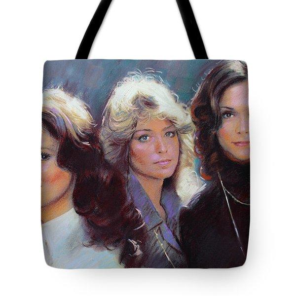 Charli's Angels Kate Jackson Farrah Fawcett Jaclyn Smith Tote Bag by Viola El