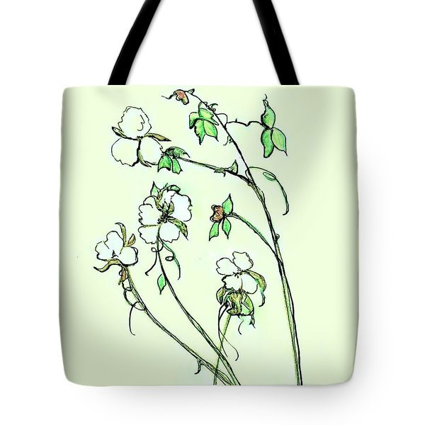 Charming Cotton Bolls Tote Bag by Eloise Schneider