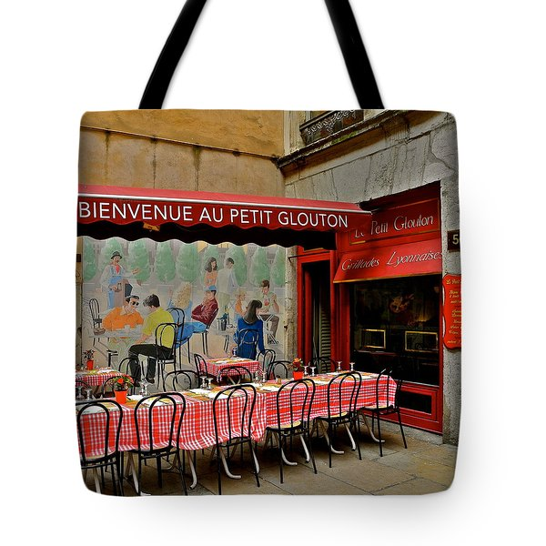 Charming French Outdoor Cafe Tote Bag