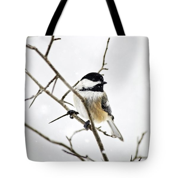 Charming Winter Chickadee Tote Bag by Christina Rollo