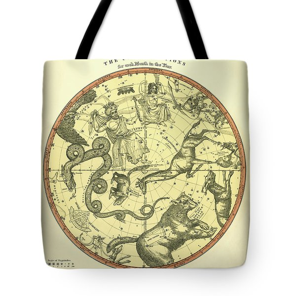 Chart Of The Constellations Tote Bag by Underwood Archives