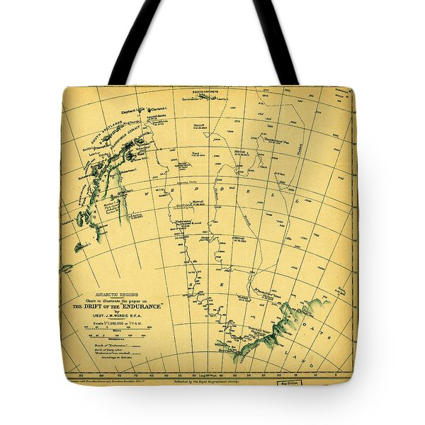 Chart To Illustrate The Paper On The Drift Of The Endurance Antarctica 1918 Tote Bag