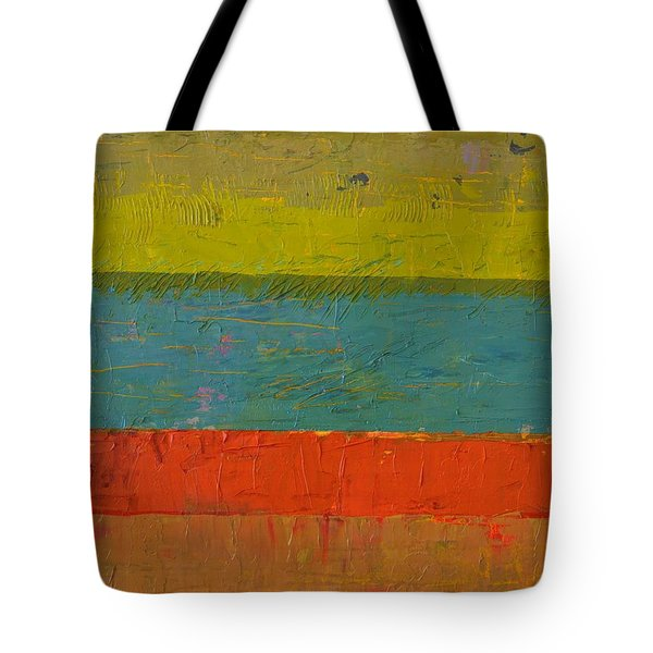 Chartreuse And Blue With Orange Tote Bag