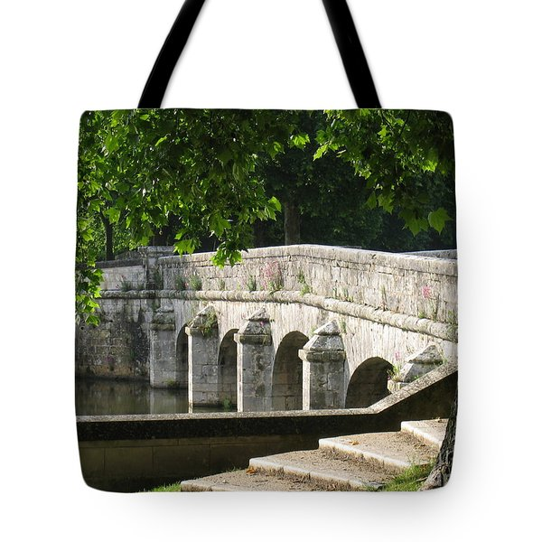 Tote Bag featuring the photograph Chateau Chambord Bridge by HEVi FineArt