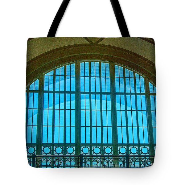 Tote Bag featuring the photograph Chattanooga Train Depot Stained Glass Window by Susan  McMenamin