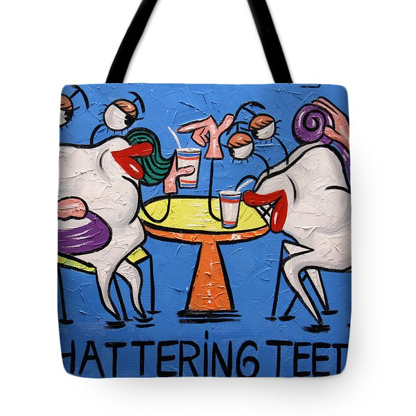 Tote Bag featuring the painting Chattering Teeth Dental Art By Anthony Falbo by Anthony Falbo