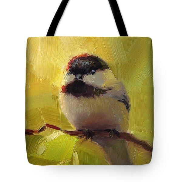 Chatty Chickadee - Cheeky Bird Tote Bag by Karen Whitworth