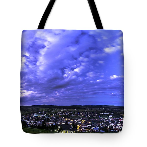 Tote Bag featuring the photograph Checiny Town Blue Hour Panorama by Julis Simo