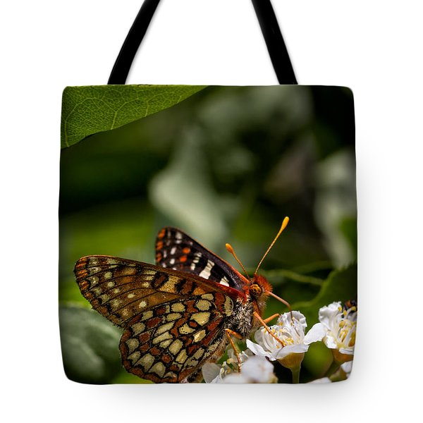 Checkerspot Sipping Nectar Tote Bag