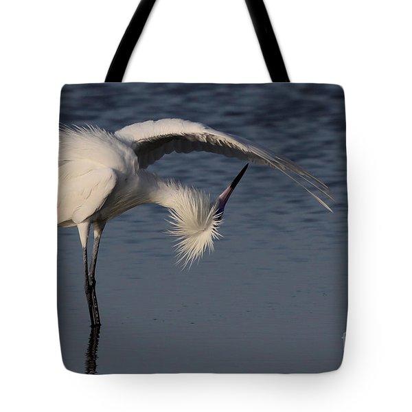 Checking For Leaks - Reddish Egret - White Form Tote Bag
