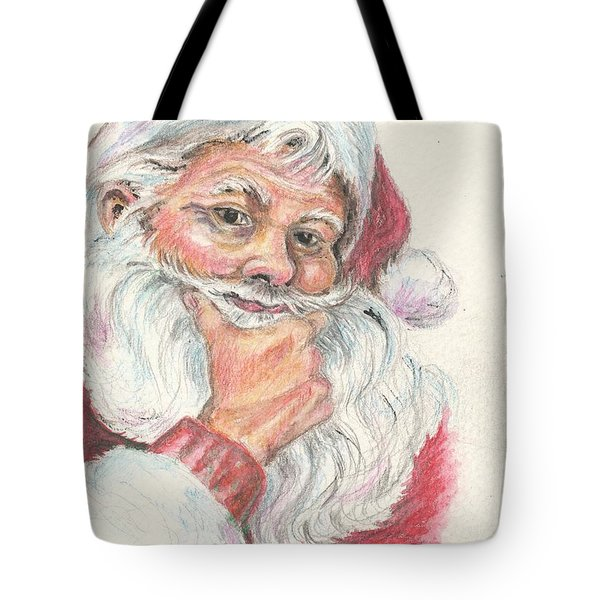 Santa Checking Twice Christmas Image Tote Bag