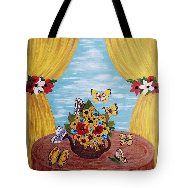 Tote Bag featuring the painting Cheerful Butterflies by Jasna Gopic